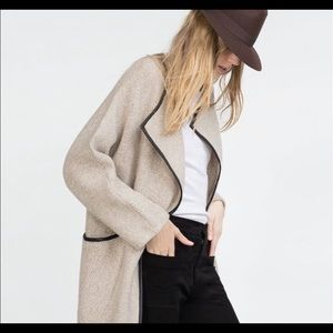 Zara Wrap Sweater Coat with Leather Piping